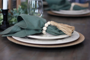 Wood Bead Napkin Rings - 4 Rings