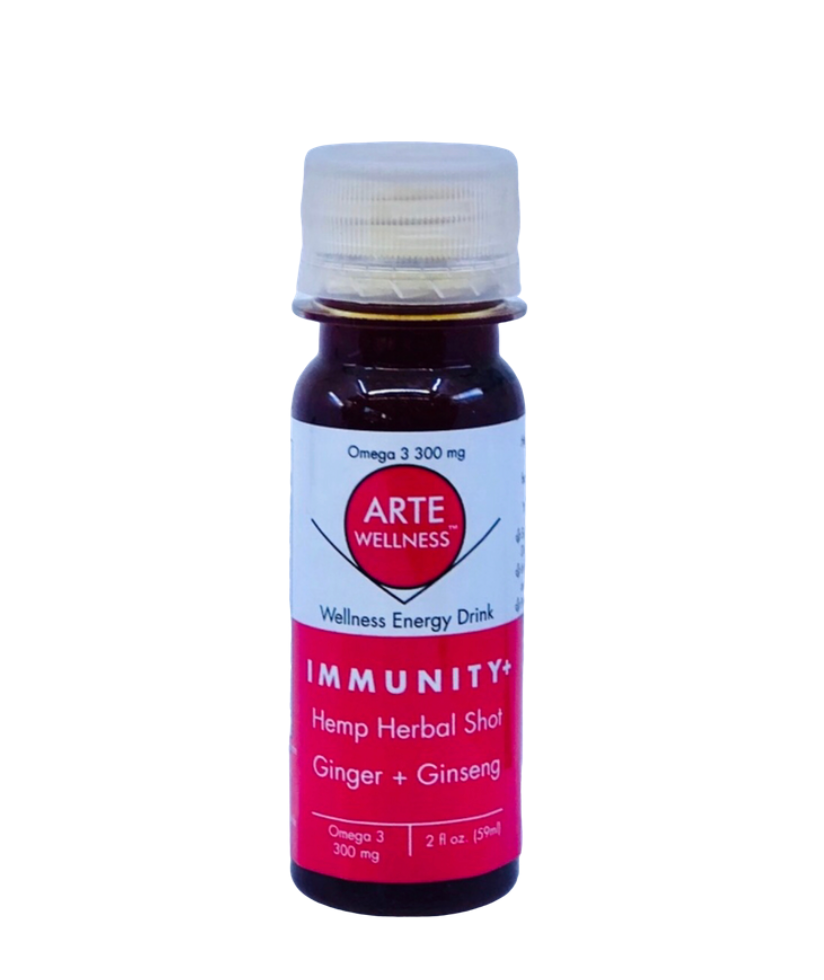 Arte Immunity Shot: Relax = Chamomile + Ginger + Turmeric with Adaptogens (Pack of 12)