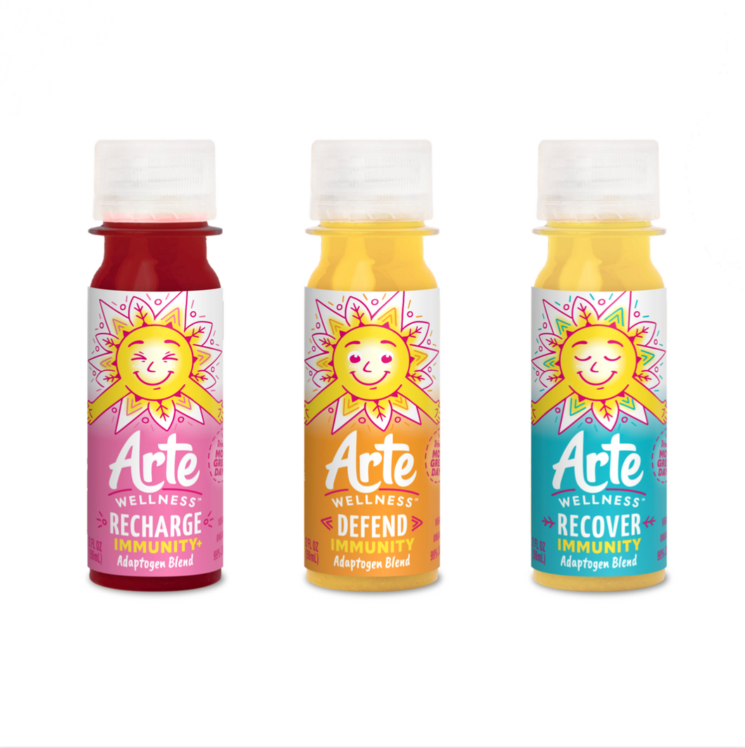 Arte Wellness Immunity Adaptogen Blend 3 Kinds (72 Bottles) Starter Kit: Immunity = Turmeric + Ginger + Magnesium + Black Peppers + Zinc with Adaptogens