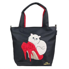 Load image into Gallery viewer, Mis Zapatos / Pumps Cat 2Way Tote Bag B-6874 (Black)