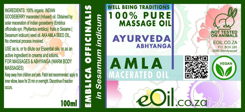 eOil.co.za Amla Ayurveda oil for all hair types: ideal to add to your weekly or monthly hair care conditioning routine. Ideal for deep conditioning, regenerating, and strengthening dry to very dry hair and scalps