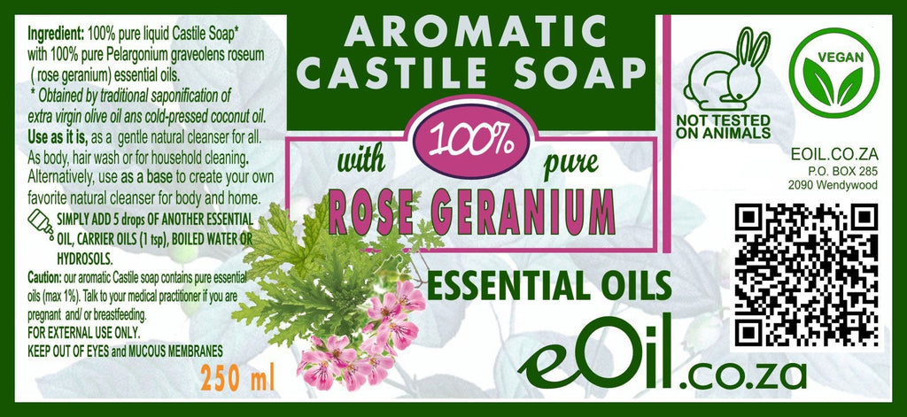 Castile soap Rose geranium essential oil liquid natural base undiluted 250 ml
