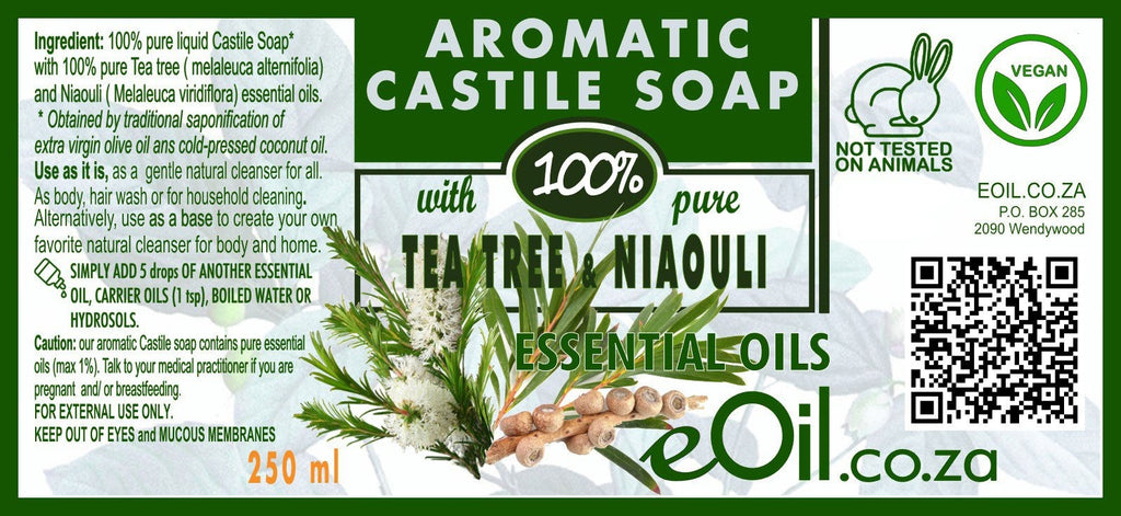 Castile soap Tea tree Niaouli essential oil liquid natural base undiluted 250 ml