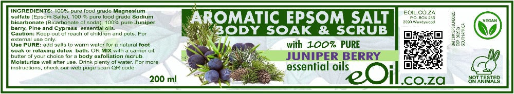 Epsom Salt Juniper Berry Aromatic Body Soak & Scrub 200 ml