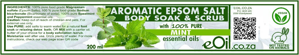 Epsom bath salts Mint Aromatic Body Soak & Scrub 200 ml