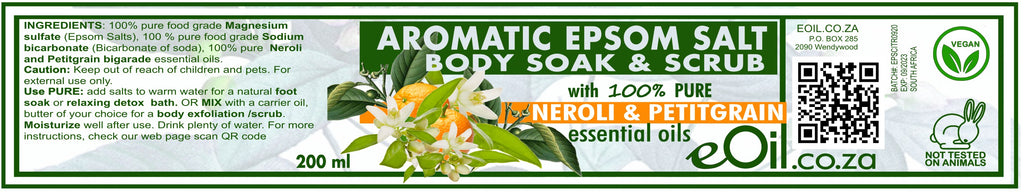 Epsom Salt Neroli (Orange blossom) & Petit Grain Aromatic Body Soak & Scrub 200 ml
