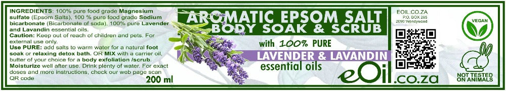 Epsom Salt Lavender Lavandin Aromatic Body Soak & Scrub 200 ml