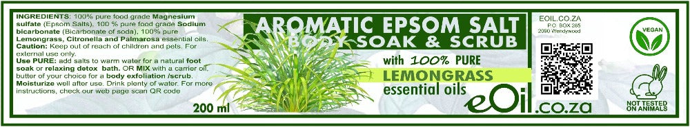 Epsom Salt Lemongrass Aromatic Body Soak & Scrub 200 ml
