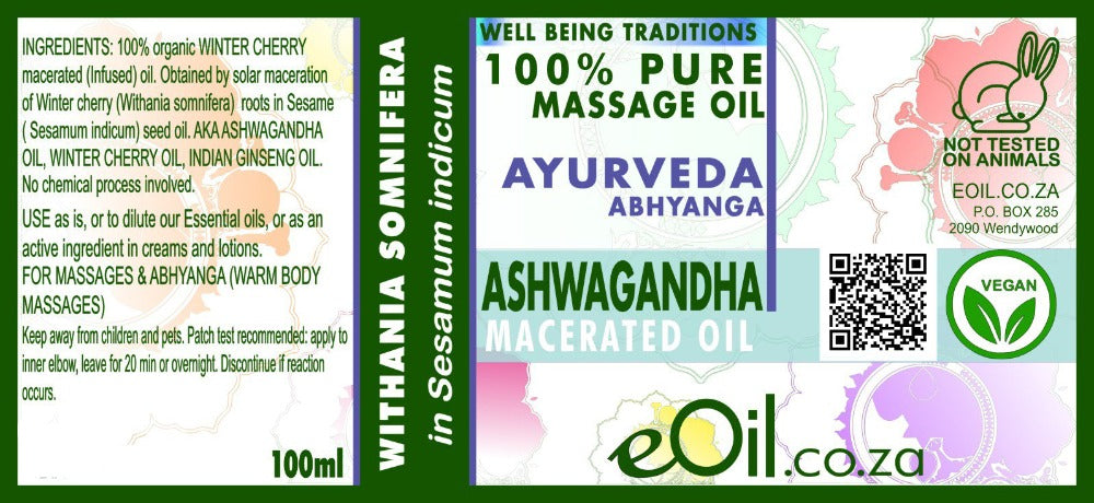 eOil.co.za Ashwagandha Ayurveda oil For body massages, energy boost, immune system boost, physical and mental stress, burnouts, physical and mental exhaustion, muscles and joints discomforts, immune system boost
