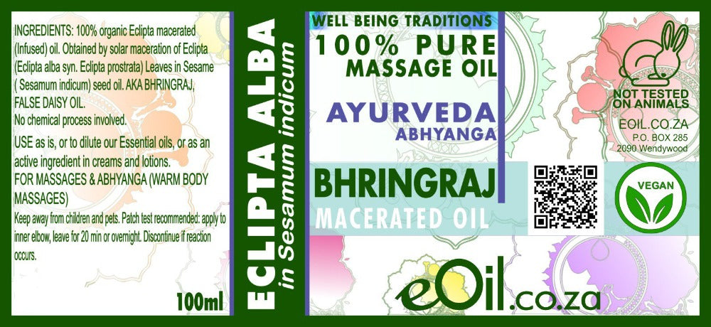 eOil.co.za bhringraj ayurveda For ladies or gents. Hair, lashes, brows, beards, moustaches. Grey hair. Soft, strong & lustrous hair. Hair growth, dandruff.
