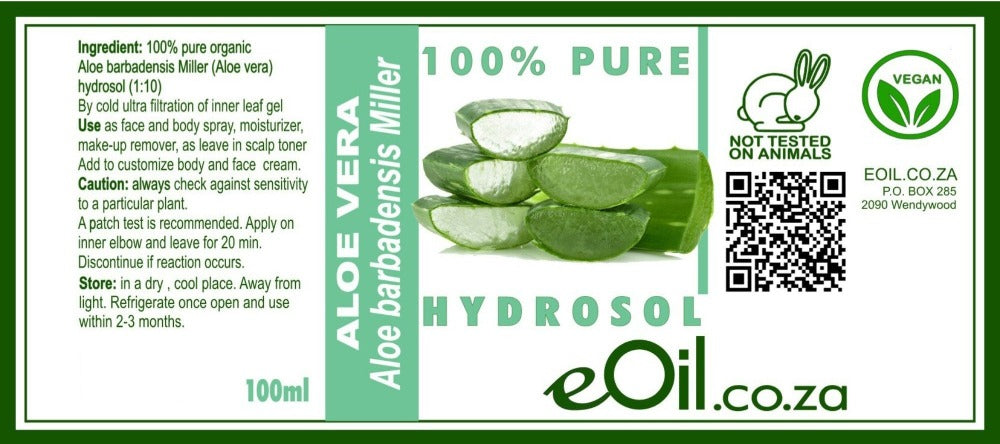 eOil.co.za ALOE VERA HYDROSOL is refreshing, full of powerful properties, helps soothe and heal the skin. Sprits on your skin for a detoxifying effect. all skin types.