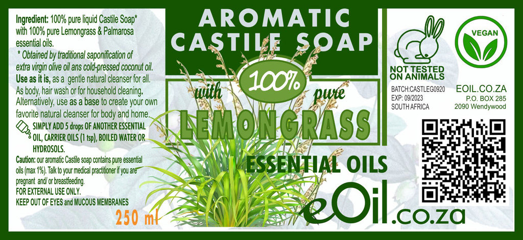 eOil.co.za For skincare: Use our liquid castile soap as it is, as a natural alternative to washing gels for body or hands. amazing scented castile soap Peppermint, Lavender, Bergamot, lemon or orange, Tea tree or Eucalyptus essential oils.