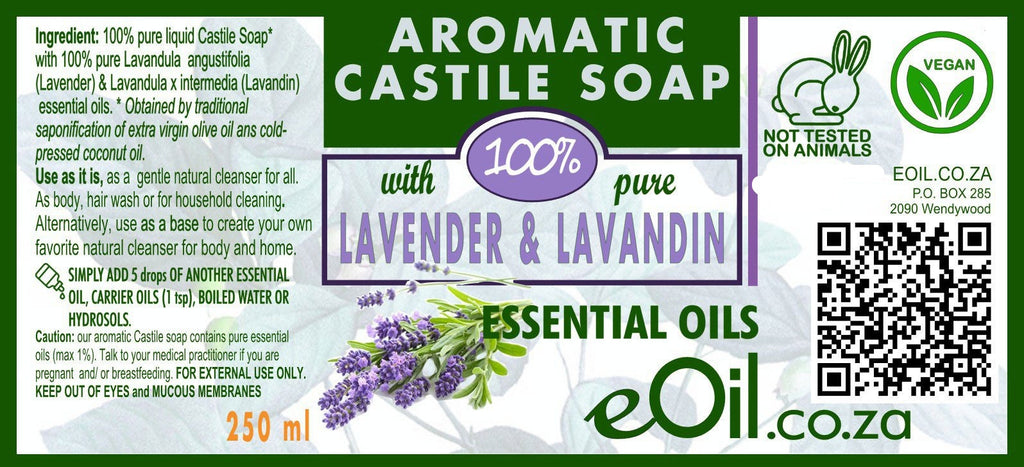 Castile soap Lavender essential oil liquid natural base undiluted 250 ml