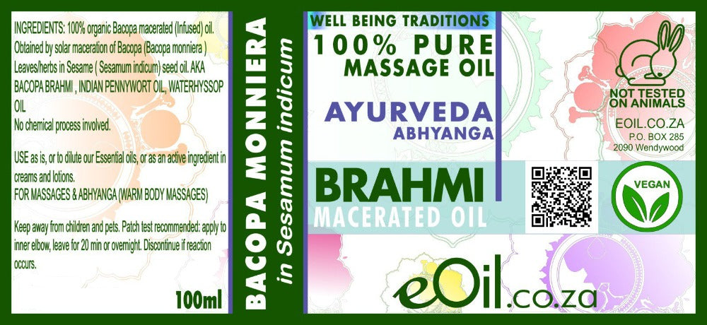 eOil.co.za Bhrami bacopa ayurveda oil. Hydrating, firming, smoothing, and softening. For all skin types. For dry, prematurely aging, marks and scars. Associated with castor oil for hair care. Promote relaxation, balance & calm