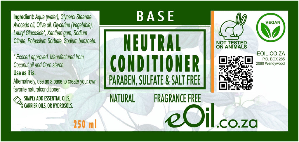 CONDITIONER NATURAL NEUTRAL BASE PARABEN SULFATE FRAGRANCE FREE BASE 250 ml - eOil.co.za