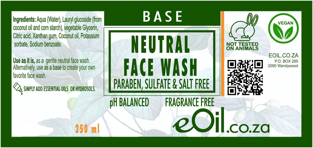 FACE WASH NEUTRAL BASE PARABEN SULFATE FRAGRANCE FREE BASE 250 ml - eOil.co.za