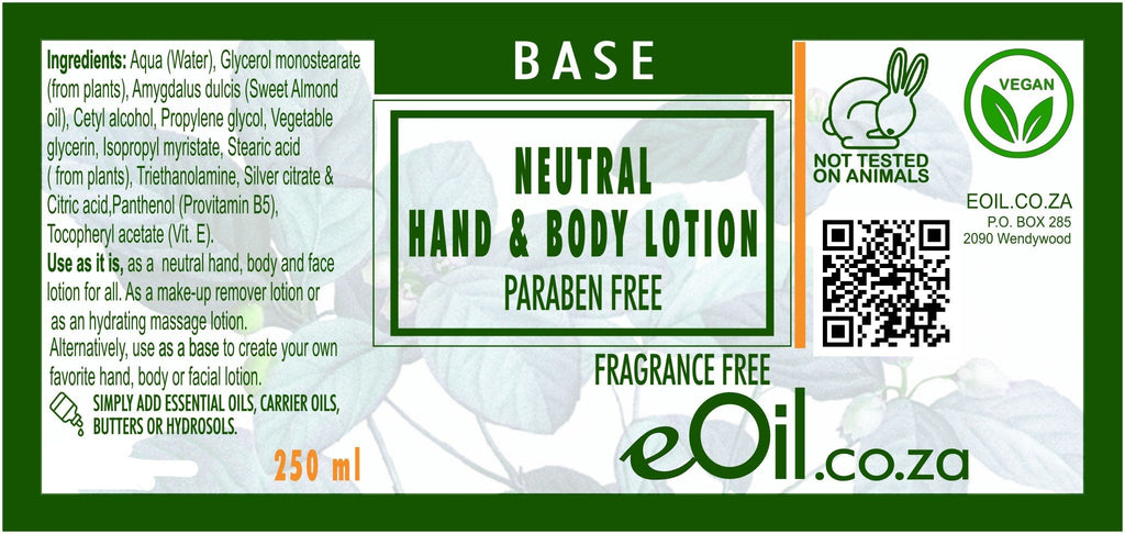 HAND & BODY LOTION NEUTRAL BASE PARABEN FRAGRANCE FREE BASE 250 ml - eOil.co.za