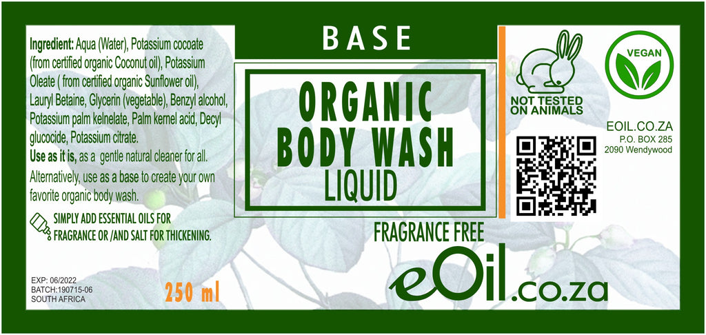 BODY WASH LIQUID ORGANIC BASE FRAGRANCE FREE BASE 250 ml - eOil.co.za