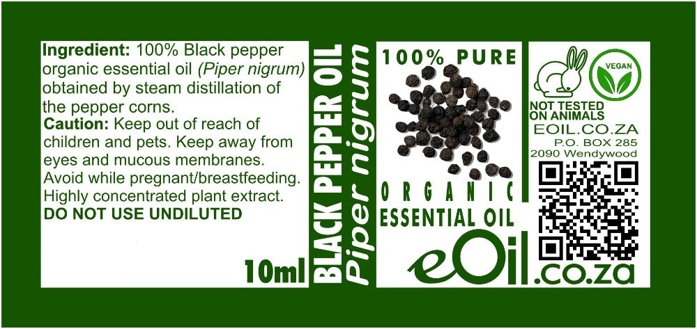 BLACK PEPPER ORGANIC ESSENTIAL OIL (Piper nigrum) 10 ml - eOil.co.za