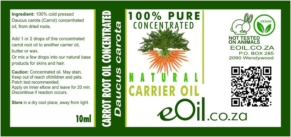 CARROT ROOT NATURAL CARRIER OIL CONCENTRATED (Daucus carota) 10 ml - eOil.co.za
