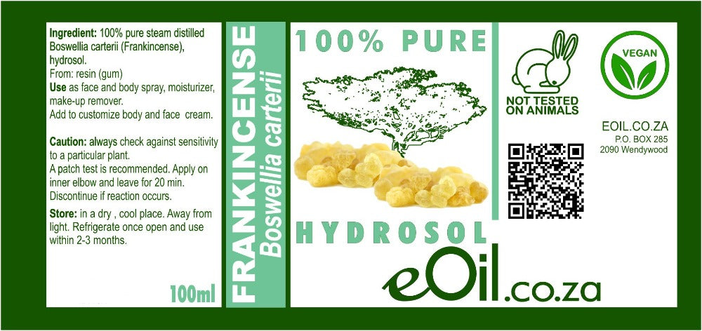 FRANKINCENSE HYDROSOL 100 % Natural (Boswellia carterii) 100 ml - eOil.co.za