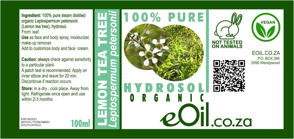 LEMON TEA TREE HYDROSOL ORGANIC (Leptospermum petersonii) 100 ml - eOil.co.za