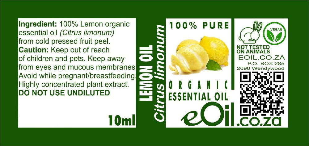 LEMON ORGANIC ESSENTIAL OIL (Citrus limonum) 10 ml - eOil.co.za