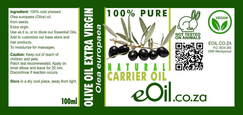 OLIVE EXTRA VIRGIN NATURAL CARRIER OIL (Olea europaea) 100 ml - eOil.co.za