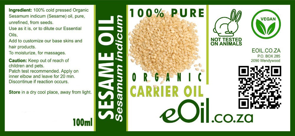 eOil.co.za Sesame oil carrier Ayurveda oils 100 ml