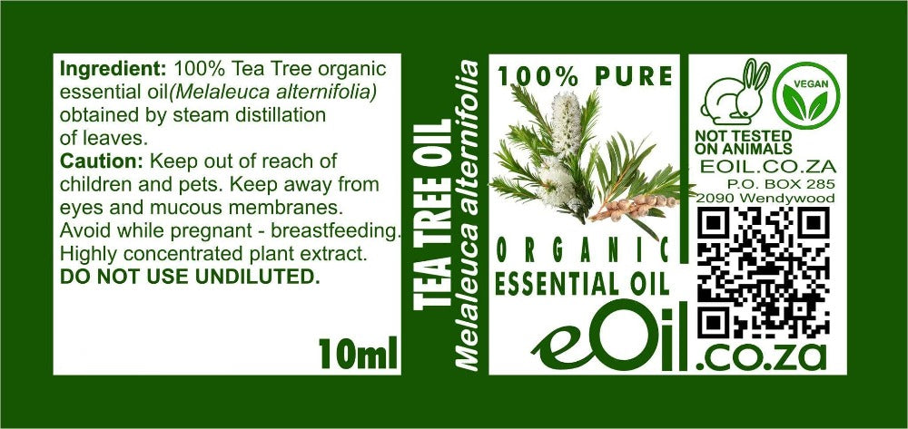 TEA TREE ORGANIC ESSENTIAL OIL (Melaleuca alternifolia) 10 ml - eOil.co.za