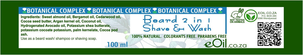 BEARD SHAVE AND WASH BOTANICAL COMPLEX 100 ml - eOil.co.za