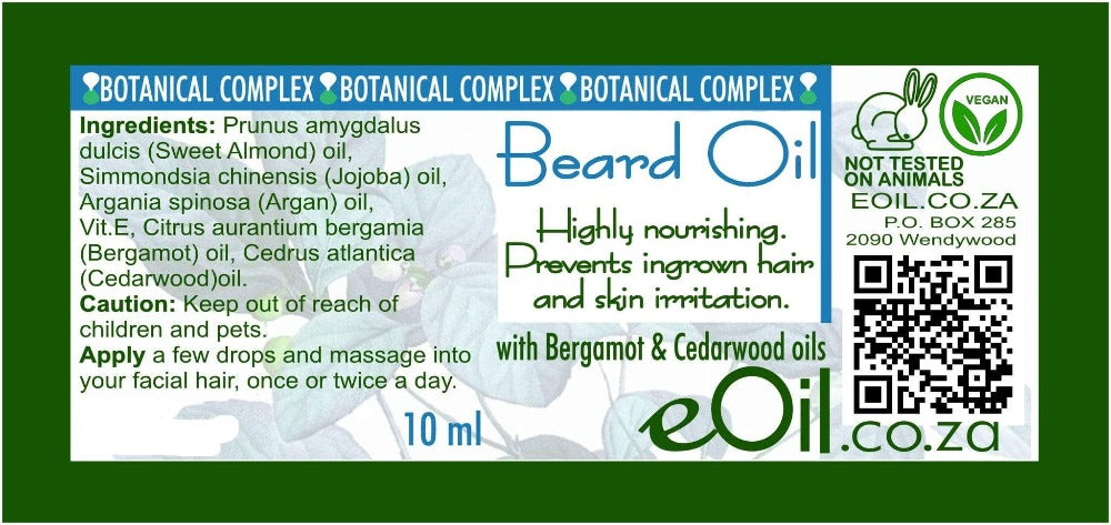 BEARD OIL BODY OIL -  BOTANICAL COMPLEX BLEND OF NATURAL OILS 10 ml - eOil.co.za