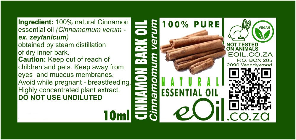 CINNAMON BARK NATURAL ESSENTIAL OIL (cinnamomum verum) 10 ml - eOil.co.za