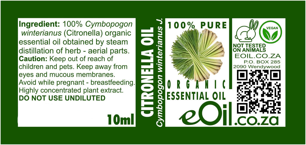 CITRONELLA ORGANIC ESSENTIAL OIL (Cymbopogon winterianus) 10 ml - eOil.co.za