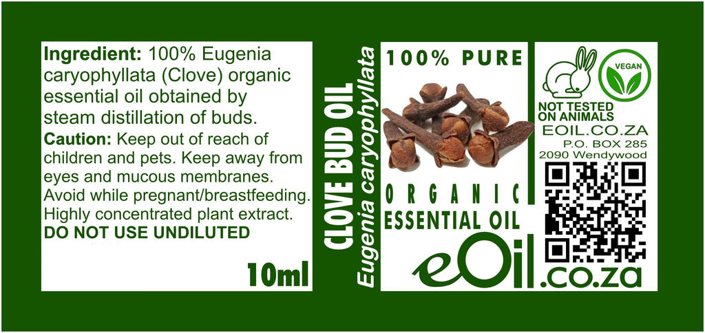 CLOVE BUD ORGANIC ESSENTIAL OIL (Eugenia caryophyllata) 10 ml - eOil.co.za