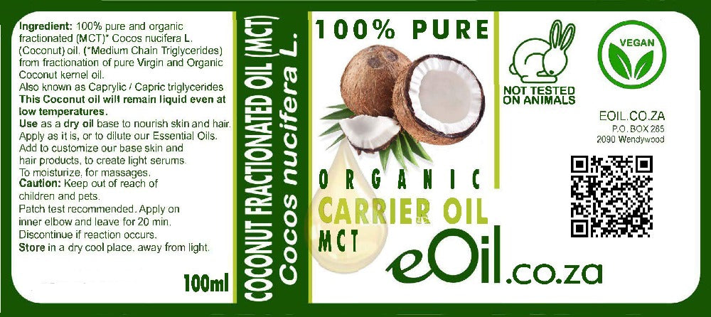 Coconut fractionated carrier oil organic MCT 100 ml (STAYS LIQUID)