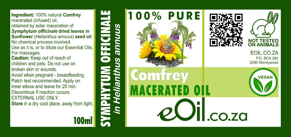 COMFREY MACERATED NATURAL CARRIER OIL (Symphytum officinale in Helianthus annuus) 100 ml - eOil.co.za