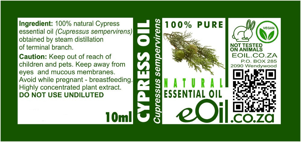 CYPRESS NATURAL ESSENTIAL OIL (Cupressus sempervirens) 10 ml - eOil.co.za