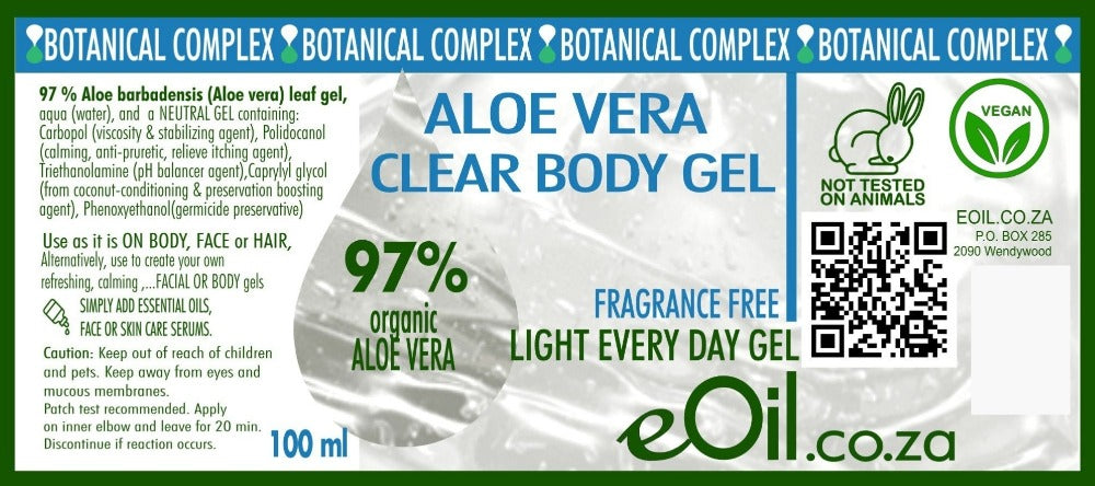 eOil.co.za Aloe Vera original body gel fragrance-free Perfect for dehydrated, mature, wrinkled, Atopic-prone skins, Irritated, sensitive skin, sunburns