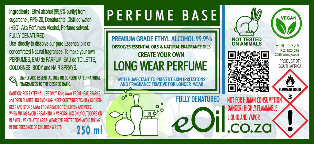 Ethyl Alcohol Denatured Long Wear Perfume Base 99.9% 250 ml
