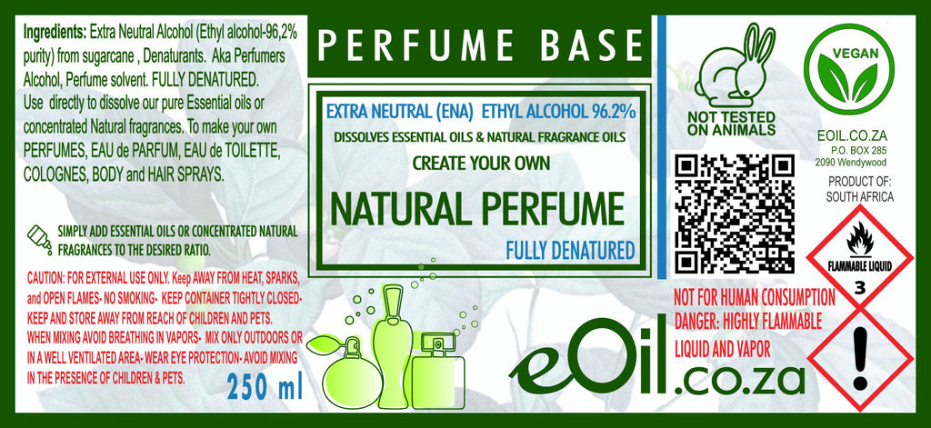 Ethyl Alcohol Denatured Natural Perfume Base 96.2 %  250 ml