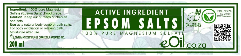 EPSOM SALTS ACTIVE INGREDIENT 100 % PURE MAGNESIUM SULFATE 200 ml - eOil.co.za