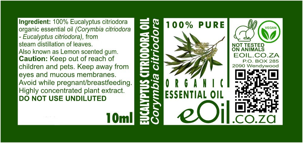 EUCALYPTUS CITRIODORA ORGANIC ESSENTIAL OIL (Corymbia citriodora) 10 ml - eOil.co.za