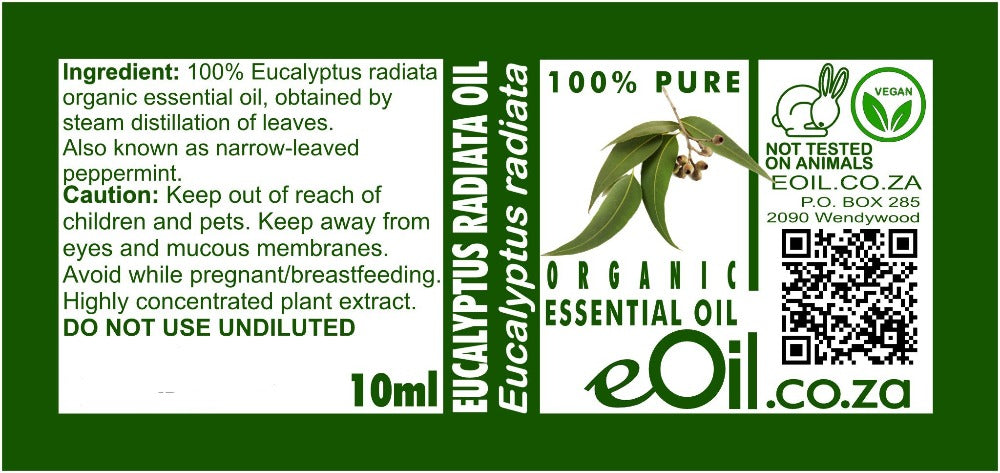 EUCALYPTUS RADIATA ORGANIC ESSENTIAL OIL (Eucalyptus radiata) 10 ml - eOil.co.za