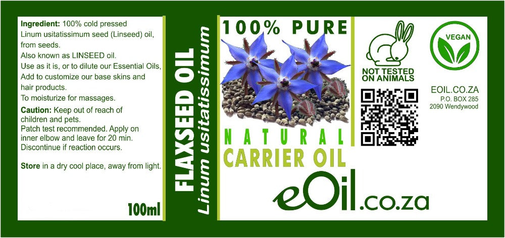 FLAX SEED NATURAL CARRIER OIL (Linum usitatissimum) 100 ml - eOil.co.za