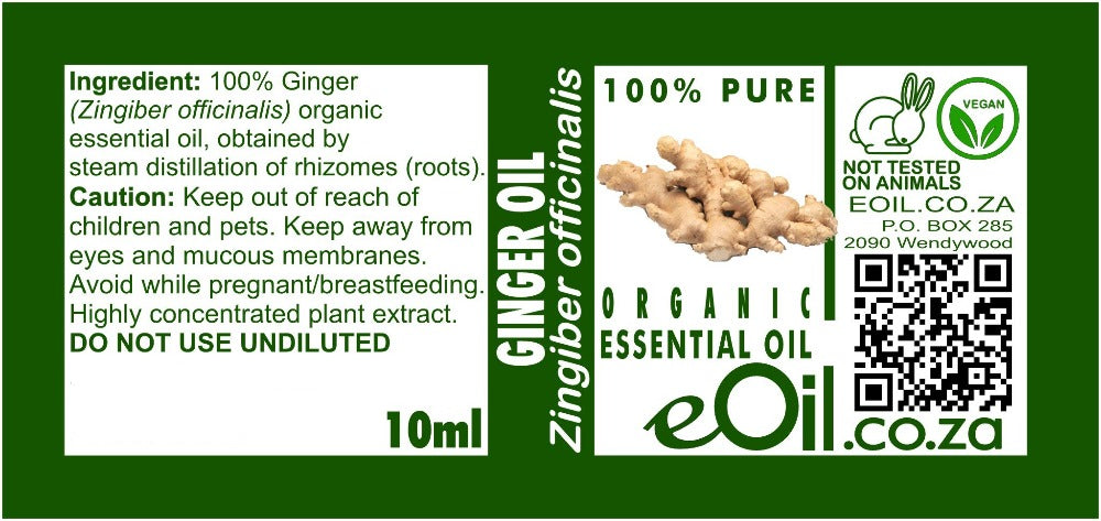 GINGER ORGANIC ESSENTIAL OIL (zingiber officinalis) 10 ml - eOil.co.za