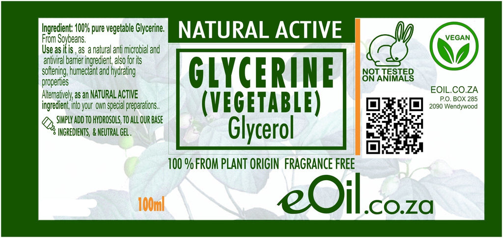GLYCERINE VEGETABLE GLYCEROL NATURAL ACTIVE INGREDIENT FRAGRANCE FREE 100 ml - eOil.co.za
