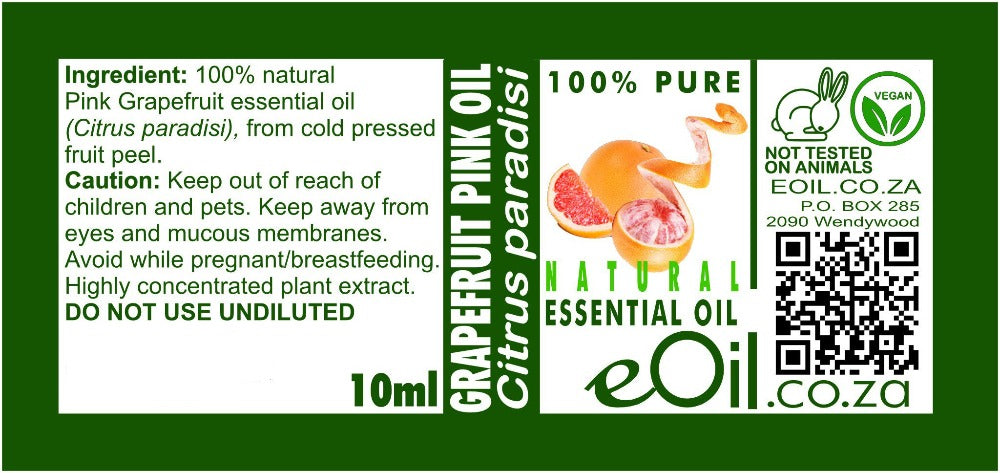 GRAPEFRUIT PINK NATURAL ESSENTIAL OIL (Citrus paradisi) 10 ml - eOil.co.za