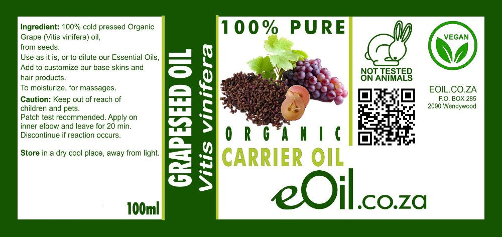 GRAPESEED ORGANIC CARRIER OIL (Vitis vinifera) 100 ml - eOil.co.za