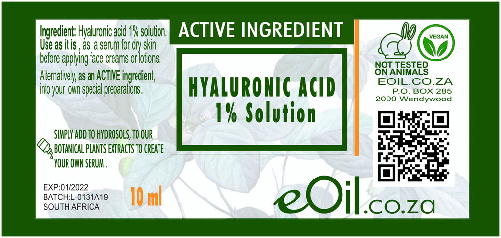 HYALURONIC ACID 1% ACTIVE INGREDIENT 10 ml - eOil.co.za